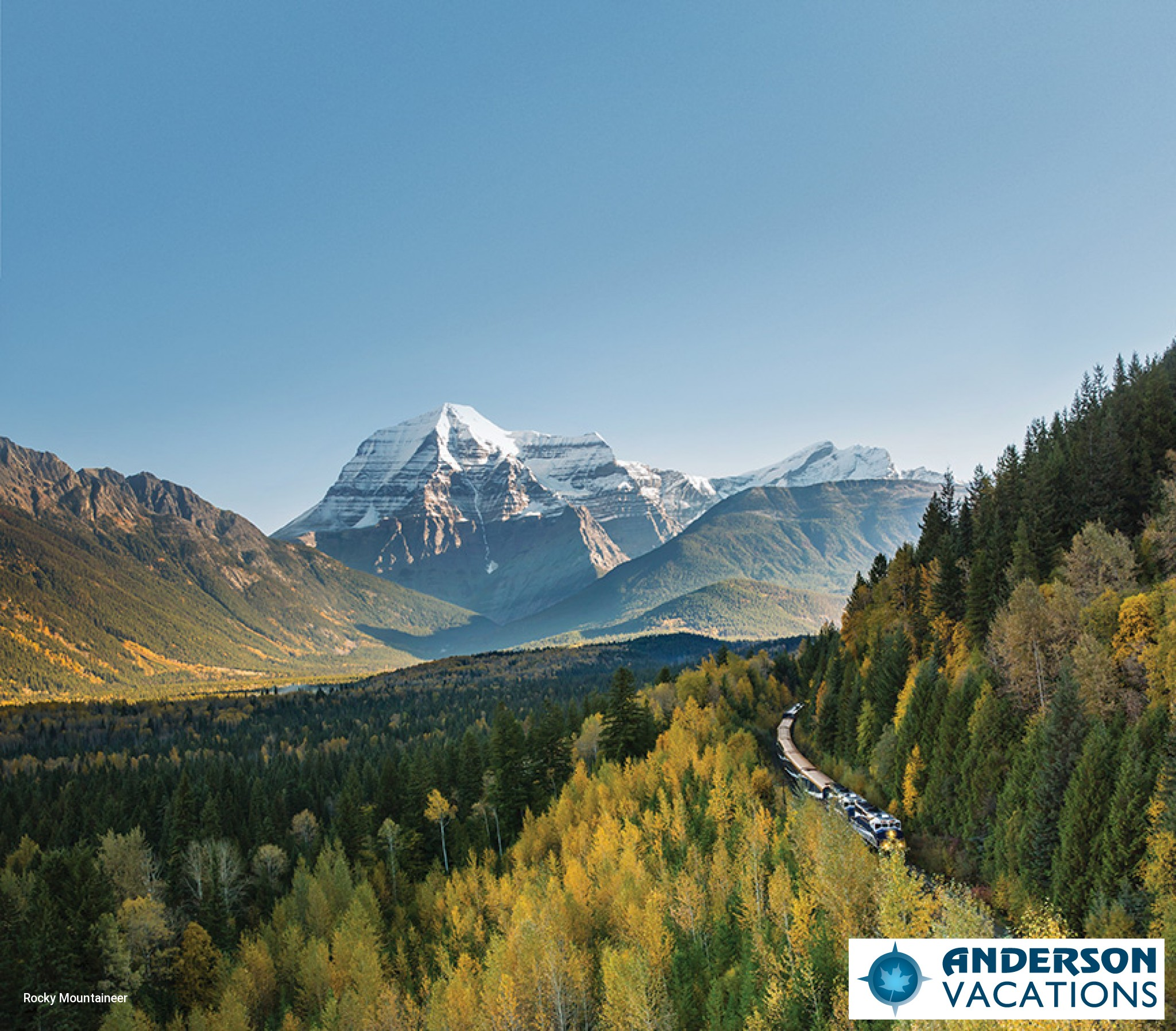 Rocky Mountaineer with Mount Robson