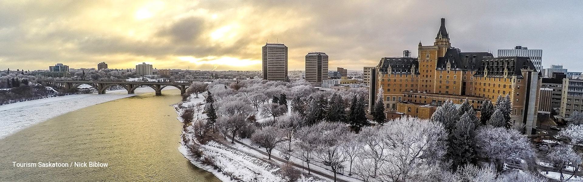 Saskatoon riverfront in Winter